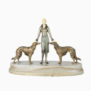 Figurine Style Viennois Art Déco en Bronze avec Base en Marbre par Joseph Lorenzl, 1930
