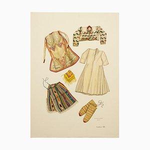 Dibujo ilustrado de los vestidos nacionales de Macedonia, 1963