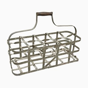 French Wood and Metal Bottle Rack, 1920s
