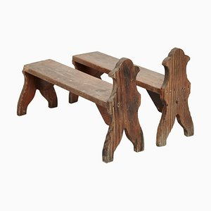 Sgabelli in legno, anni '20, set di 2