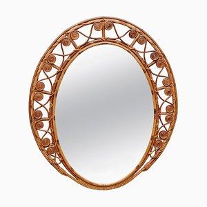 19th Century Oval Rattan Wall Mirror