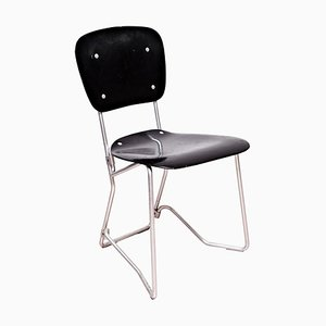 Mid-Century Metal and Wood Swiss Stackable Chair by Armin Wirth for Aluflex