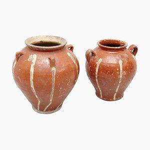 Ceramiche dipinte a mano, XIX secolo, set di 2