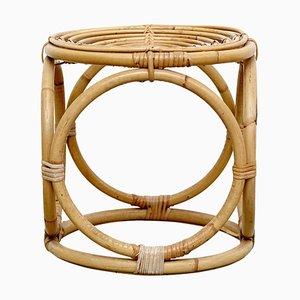 Französischer Mid-Century Bambus Hocker, 1960er