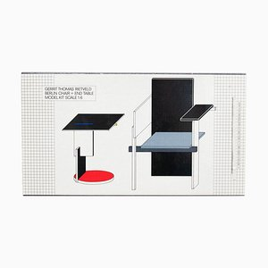 Scale Model Toy of Rietveld Berlin Chair and End Table, 1985
