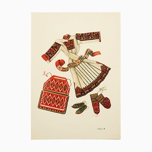 Disegno illustrato The National Dresses of Macedonia in Plate, 1963