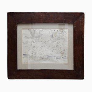 Togores Zeichnung auf Papier von Le Corbusier für Kahnweilers Galerie Simon, 1927