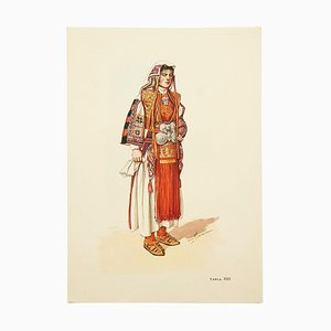 National Dress of Macedonia, Illustrated Drawing in Plate, 1963
