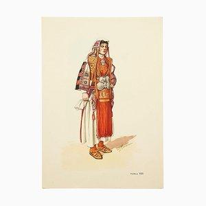 National Kleider von Mazedonien, Illustrierte Zeichnung in Teller, 1963