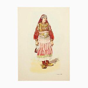 Disegno raffigurante abiti nazionali di Macedonia, 1963