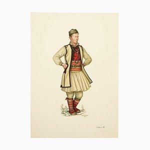 National Dress of Macedonia Illustrierte Zeichnung in Teller, 1963