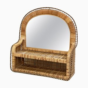 Mid-Century Modern Mirror Handcrafted in Rattan, French Riviera, 1960s