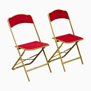 Antique French Folding Theater Chairs, 1960s, Set of 2
