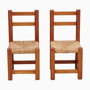 Kinderstühle aus Holz & Rattan, 1960er, 2er Set