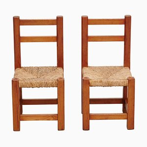 Wood and Rattan Children Chairs, 1960s, Set of 2
