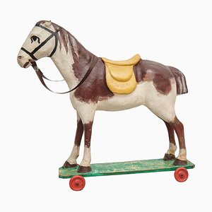 French Antique Cardboard Childrens Horse, 1950s