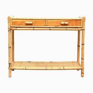 French Bamboo and Rattan Console, 1960s