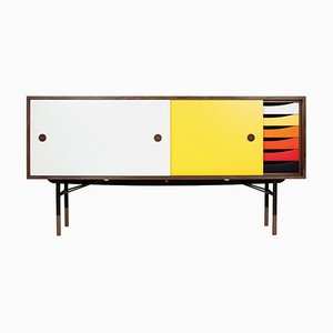Sideboard in Wood with Warm Colors & Tray Unit by Finn Juhl