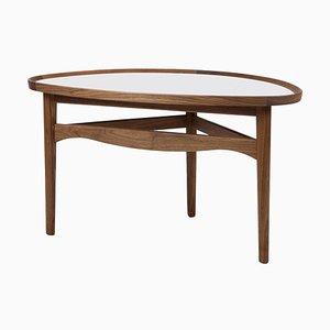Eye Side Table in Wood and White High Gloss Laminate by Finn Juhl