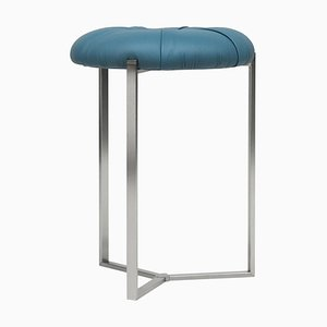 Pivot Kuma T82p Stool in Stainless Steel Matte or Blue Leather Fabric by Peter Ghyczy