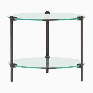 Table d'Appoint Pioneer T79 en Acier Mat et Verre Transparent par Peter Ghyczy