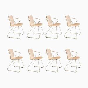 Skulpturale Cobra Stühle aus Holz & Metall von Adolfo Abejon, 8er Set