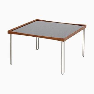 Tisch aus Holz, Schwarzem Hochglanz, Weißem Laminat und Stahl von Finn Juhl
