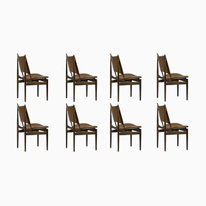 Sedie egiziane in legno e pelle di Finn Juhl, set di 8