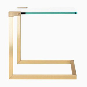 Pioneer T53c Table in Brass Matte & Clear Glass by Peter Ghyczy