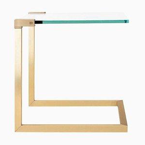 Table Pioneer T53c en Laiton Mat et Verre Transparent par Peter Ghyczy