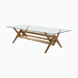 056 Capitol Complex Dining Table in Wood and Glass by Pierre Jeanneret for Cassina