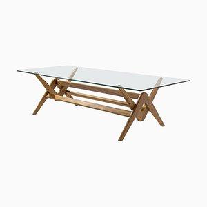 Table de Salle à Manger 056 Capitol Complex en Bois et Verre par Pierre Jeanneret pour Cassina