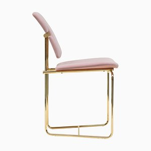 Urban S02 Brass Gloss & Pink Fabric Side Chair by Peter Ghyczy