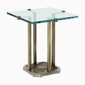 Mesa auxiliar Pioneer T57d de aluminio, roble, wengué y vidrio transparente de Peter Ghyczy