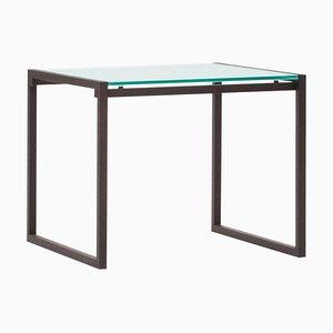 Mesa auxiliar Duet T73 de vidrio transparente y ristretto de Peter Ghyczy