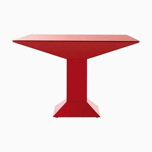 Mettsass Tisch aus rotem Metall & Glas von Ettore Sottsass