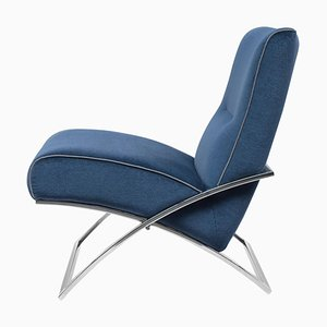 Urban Wave Gp03 Armchair in Stainless Steel & Blue Fabric by Peter Ghyczy
