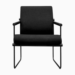 Safari Audrey Gp05 Armchair in Oak & Black Fabric by Peter Ghyczy