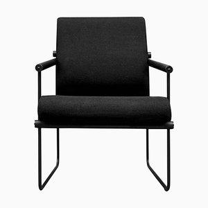 Safari Audrey Gp05 Sessel aus Eiche & schwarzem Stoff von Peter Ghyczy