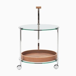 Carrito para el té Pioneer T79ds de acero, roble y vidrio transparente de Peter Ghyczy
