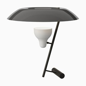 Model 548 Dark Burnished Brass Table Lamp with Grey Diffuser by Gino Sarfatti
