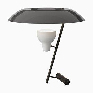 Modell 548 Tischlampe aus dunkel brüniertem Messing mit grauem Schirm von Gino Sarfatti