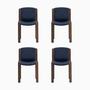 Model 300 Chairs in Wood and Kvadrat Fabric by Joe Colombo, Set of 4