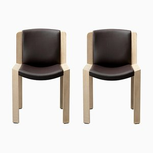 Model 300 Chairs in Wood and Sørensen Leather by Joe Colombo, Set of 2