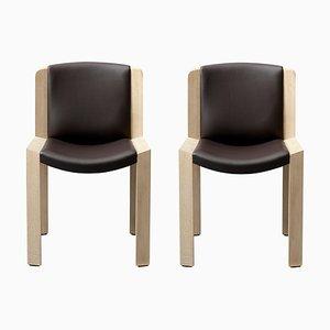 Modell 300 Stühle aus Holz und Sørensen Leder von Joe Colombo, 2er Set