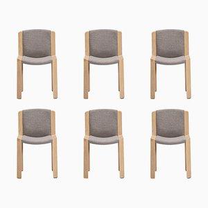 300 Wood and Kvadrat Fabric Chairs by Joe Colombo, Set of 6