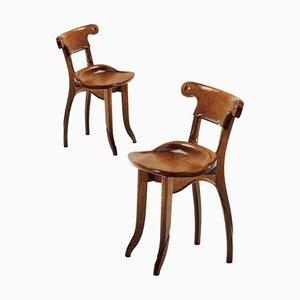 Spanish Modernist Solid Varnished Oak Batllo Chairs by Antoni Gaudi, Set of 2