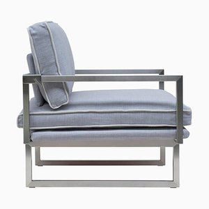 Urban Brad Gp01 Armchair with Stainless Steel Matte & Grey Fabric by Peter Ghyczy