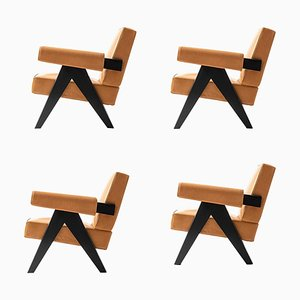 Model 053 Capitol Complex Armchairs by Pierre Jeanneret for Cassina, Set of 4