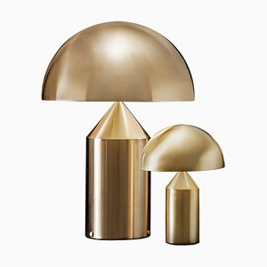 Atollo Large and Small Gold Table Lamps from Oluce, Set of 2